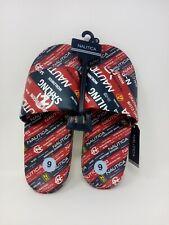 Nautica Men's Multi Print Logo Slide Sandals Red/Blue. SZ 9 Free Shipping