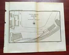 1897 Sketch Map of Chicago River Collision Bend Dupont Slip Halsted