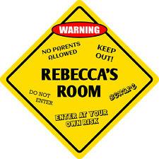 """*Aluminum* Rebecca's Room Kids Room Door 12""""x12"""" Metal Novelty Sign"""