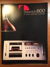 NAKAMICHI 600 2 HEAD CASSETTE DECK ORIGINAL BROCHURE P295