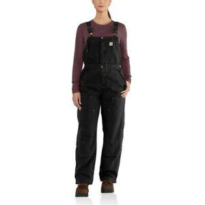 Carhartt Weathered Duck Wildwood Quilt Bib Overalls Medium Regular Black 102743