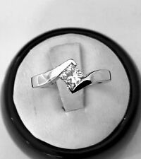 PRINCESS CUT NATURAL DIAMOND SOLITAIRE RING 14K WITE GOLD  .59 CT.