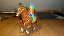 Mechanical cowboy on horse tin litho: FINO Made in Greece 1950's