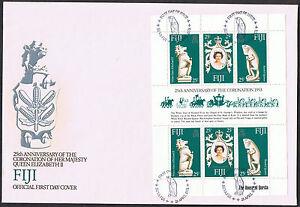 Fiji FDC 25th Anniversary of the Coronation 1978 Mini-Sheet SG549 to SG551