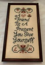 "Completed Counted Cross Stitch ""A Friend Is A."" Framed Wall Art Free Shipping"