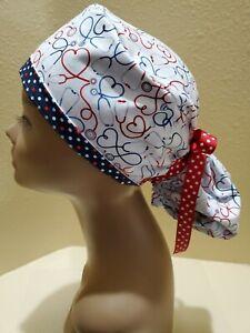Stethoscopes Women's Ponytail Surgical Scrub Hat/Cap Handmade