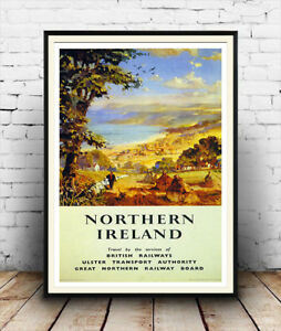 Northern Ireland : Vintage Travel advert , Reproduction poster, Wall art.