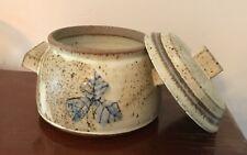 RICHARD ABNET Stillwater MN Oatmeal Glazed Art Studio Pottery Covered Bowl