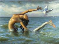 CHENPAT1145 naked mermaid girl&Peace dove handmade oil painting art on canvas