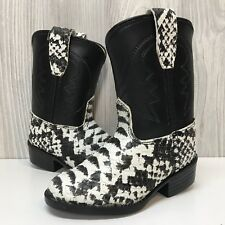 Old West Snakeskin Print Black White Cowboy Costume Boots 4 Toddler Dress Shoes