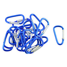 20pcs Blue Aluminum Carabiner Pink D Shape Clip Spring Snap Key Chain Hook