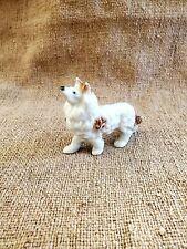 Vintage Rough Collie Dog Figurine Small Ceramic Animals Brown White Japan