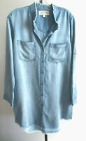 New Anthropologie Cloth & Stone Tencel Dress Rolled sleeve Chambray Blue S L