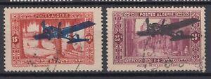 ALGERIA 1936, USED 15c (SMALL TEAR), 25c (CREASED, CUT), AIRPLANE OVERPRINT