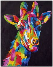 Hand Painted Giraffe Oil Painting On Canvas - Impressionist Animal Wall Art