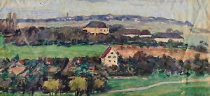 Wilhelm Grunert 1891-1963 Arnstadt / Aquarell dörfliche Landschaft / um 1945