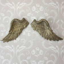 Large gold resin wall hanging art angel fairy feather wings shabby ornate chic