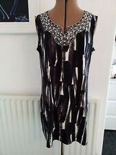 M&S Woman size 14 black multi ,bead detailed long tunic top