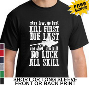 American Military Sniper Stay Low Armed Forces Men Short Or Long Sleeve T Shirt