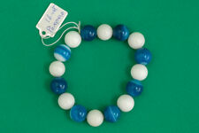 White Coral Handmade Jewelry Blue Brazilian Agate Bracelet with