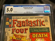 """Marvel Fantastic Four #32 Nov. 1964 CGC 5.0 12 cent issue """"Death of a Hero!"""""""