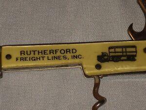 AJ-219 Rutherford Freight Lines Advertising Pocket Knife Corkscrew Bottle Opener