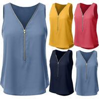 Hot Womens Summer Casual Zipper T-Shirt Sleeveless Chiffon Vest Tank Tops Blouse