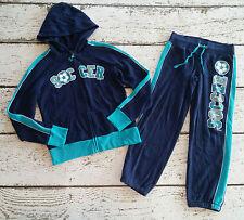 JUSTICE Girls Blue Soccer Hoodie and Pants Capri Track Set 8 EUC