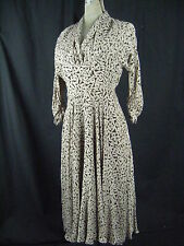 Vtg 40s Brown/Taupe Eyelet Lace Semi-Sheer Dress-Bust 36/S-M