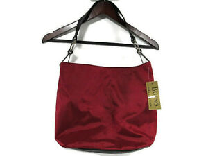 BUENO Collection Maroon Canvas Hobo Shoulder Bag With Black Leather Strap