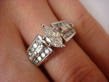 EXQUISITE 1 CT T.W. MARQUISE BAGUETTE & ROUND DIAMONDS ENGAGEMENT RING 6.2 GRAMS