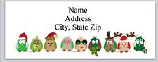 Personalized Address Labels Row of Christmas Owls Buy 3 get 1 free (bx 741)
