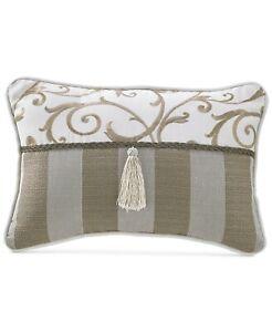 "Croscill 12"" x 18"" Boudoir Decorative Pillow Anessa Embroidered BEIGE J9X004"