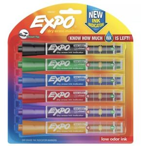 EXPO Dry Erase Markers with Ink-Indicator, 6-colors Chisel Tip Med Or Fine Lines