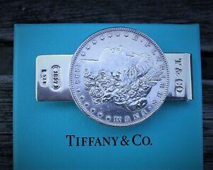 TIFFANY & Co Sterling Silver Morgan Silver Dollar Money Clip + BOX & POUCH