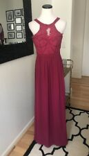 Bariano Berry Pink Lace Maxi Dress Nwt Bridemaid Gown Xs Designer Long Formal
