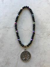 Anklet 6mm Black Green Pink Yellow Blue Beads Silver Lucky Tree Of Life Charm