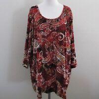 Catherines Tunic Top Plus 2X 22W 24W Red Black Paisley Velvet Knit 3/4 Sleeve