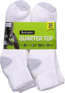 Burlington Men's Cotton Quarter Socks Comfort Power (10-Pack) White 10-13
