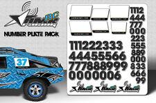 RC Number plate sticker pack 1/8 1/10 Scale body universal fit race decals-Carbo