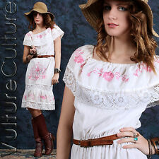 REAL Vintage 70s Hippie Mexican Wedding Dress Embroidered  White/Pink Boho M