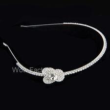 Flower Diamante Crystal Silver Plated Wedding Bridal Hair Band Headband