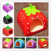 Soft Pet Dog Cat Strawberry Bed House Kennel Doggy Warm Cushion Basket 3 Size JP