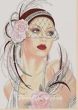 Cross stitch chart  Art Deco Lady 198 DMC -  FlowerPower37-UK-..FREE UK P&P..