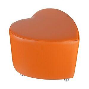 Sitzhocker Kaikoon - Sitzwürfel Herzform Orange mit Aluminium Gleiter