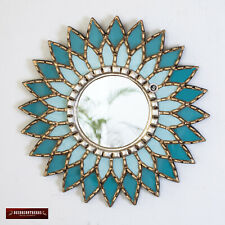 "Turquoise Round Sunflower Mirror 17.7"" from Peru, Ornate Accent Mirror  for wall"