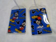Mickey Mouse Disney fabric & vinyl Luggage Tags Set 2 cruise kids child vacation