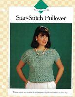 Ladies Star Stitch Pullover Sweater Single Pattern Vanna White Light & Airy