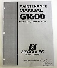 Hercules Maintenance Manual G1600 Engines Natural Gas, Gasoline LPG 40-0090202