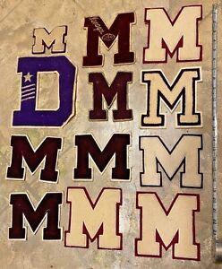 Lot of 12 vintage High School Letterman Varsity Jacket Letters M Maroon Cream
